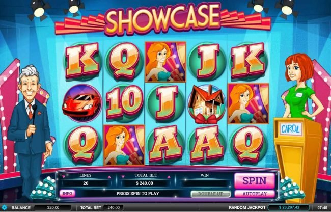 Showcase :: Main game board featuring five reels and 20 paylines with a $60,000 max payout