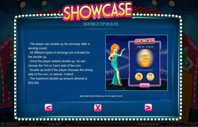 Showcase :: Double Up Feature is a available after every winning spin. Select either Cleopatra or the Mummy for a chance to doudle your winnings.