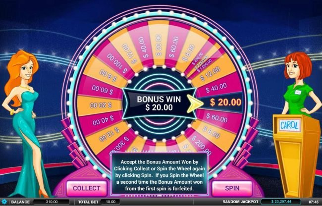 Showcase :: You can either take the bonus sheel win or try another spin of the wheel for a chance at a larger prize. Keep in mide that you run the risk of landing on a lower value prize.