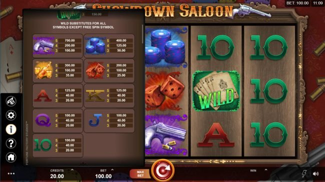 Sin Spins featuring the Video Slots Showdown Saloon with a maximum payout of $150,000