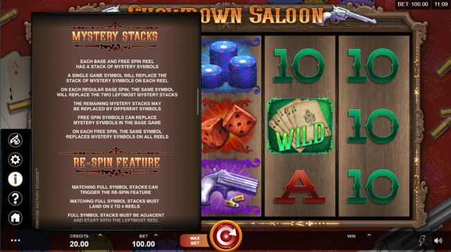 EU Casino featuring the Video Slots Showdown Saloon with a maximum payout of $150,000