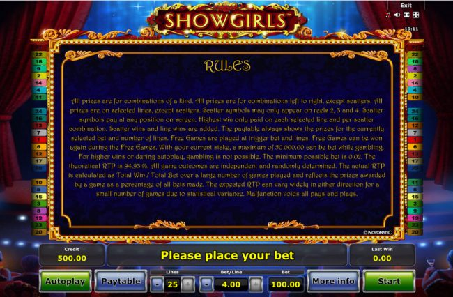Pamper featuring the Video Slots Showgirls with a maximum payout of $50,000