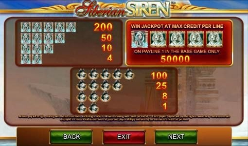 Shadowbet featuring the Video Slots Siberian Siren with a maximum payout of $50,000