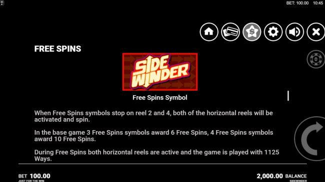 Side Winder :: Free Spins Rules