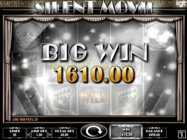 Powerspins featuring the Video Slots Silent Movie with a maximum payout of $250,000
