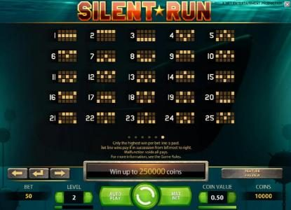 Sun Play featuring the Video Slots Silent Run with a maximum payout of $5,000