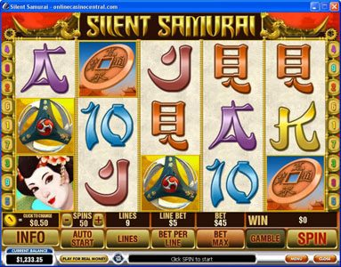 Slots Heaven featuring the Video Slots Silent Samurai with a maximum payout of $25,000