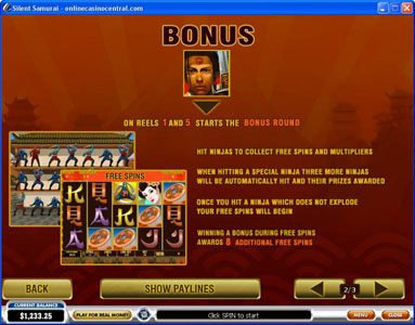 Betfair featuring the Video Slots Silent Samurai with a maximum payout of $25,000
