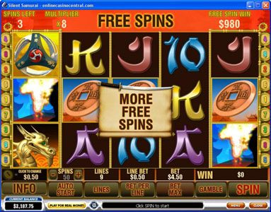 Giant Vegas featuring the Video Slots Silent Samurai with a maximum payout of $25,000