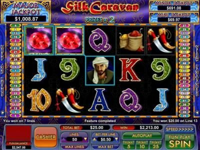 BuzzLuck featuring the Video Slots Silk Caravan with a maximum payout of $8,000