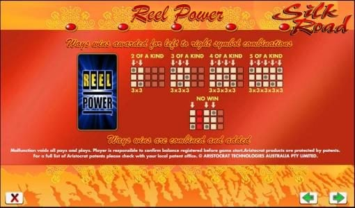 reel power 243 ways to win awarded from left to right symbol combinations
