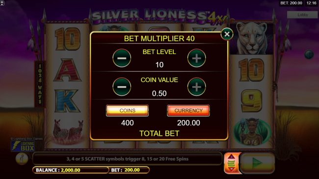 Queen Vegas featuring the Video Slots Silver lioness 4x with a maximum payout of $256,000