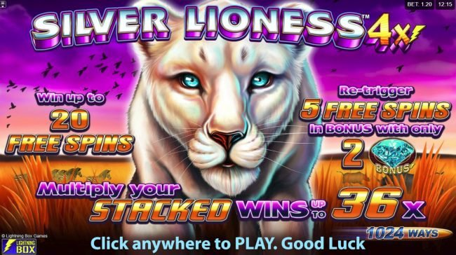 Play slots at Fluffy Spins: Fluffy Spins featuring the Video Slots Silver lioness 4x with a maximum payout of $256,000