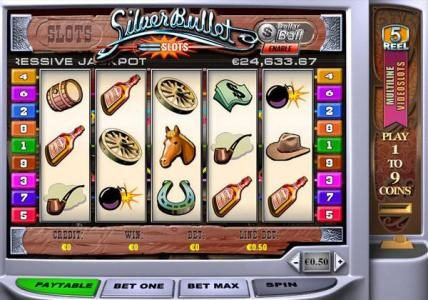Play slots at Casino Las Vegas: Casino Las Vegas featuring the Video Slots Silver Bullet with a maximum payout of $50,000