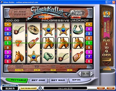 Titanbet.it featuring the Video Slots Silver Bullet with a maximum payout of $50,000