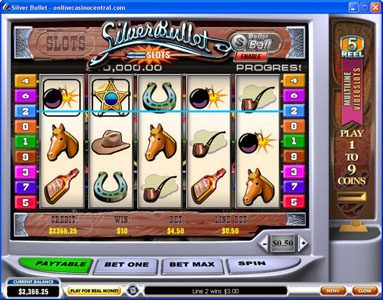Omni featuring the Video Slots Silver Bullet with a maximum payout of $50,000