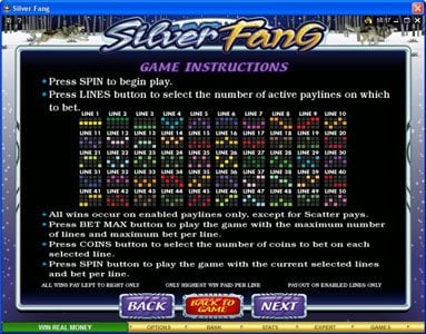 Mummys Gold featuring the Video Slots Silver Fang with a maximum payout of $125,000