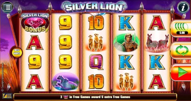 Slots Magic featuring the Video Slots Silver Lion with a maximum payout of $224,000