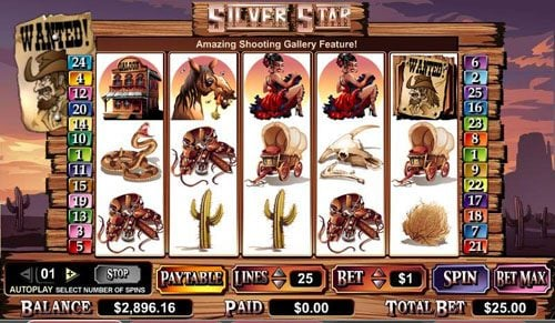 Casiplay featuring the video-Slots Silver Star with a maximum payout of $100,000