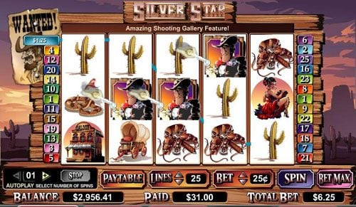 Spinland featuring the video-Slots Silver Star with a maximum payout of $100,000