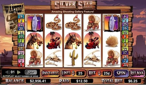 Spinrider featuring the video-Slots Silver Star with a maximum payout of $100,000