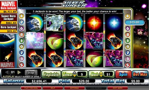 Yoyo featuring the video-Slots The Silver Surfer with a maximum payout of $15,000