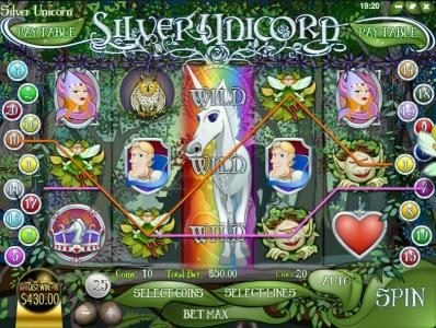 Mayan Fortune featuring the Video Slots Silver Unicorn with a maximum payout of $37,500