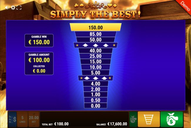 Simply The Best :: Ladder Gamble Feature Game Board