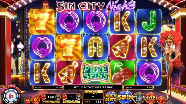 Realis featuring the Video Slots Sin City Nights with a maximum payout of $2,330,000
