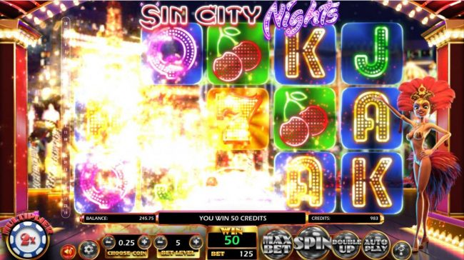 Mr Green featuring the Video Slots Sin City Nights with a maximum payout of $2,330,000
