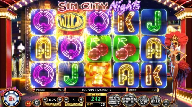Sin City Nights :: Multiple winning paylines triggers a big win!