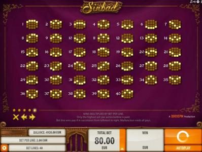 Trada featuring the Video Slots Sinbad with a maximum payout of $2,000