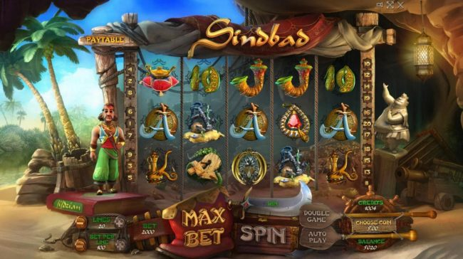 Sindbad :: Main game board featuring five reels and 50 paylines with a $100,000 max payout.