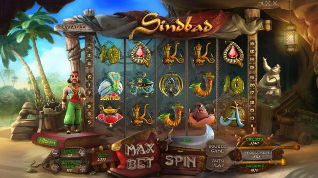 Sindbad :: landing an amulet wild symbol anywhere on reels 2, 3 and 4 will cause it to expand covering the entire reel