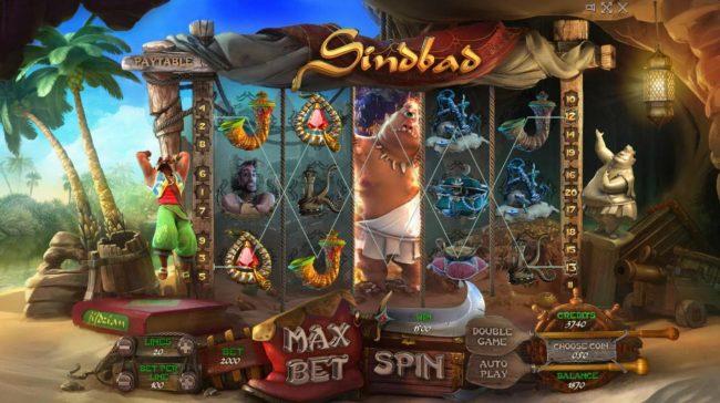 Sindbad :: Multiple winning paylines triggers a 1500 credit big win!