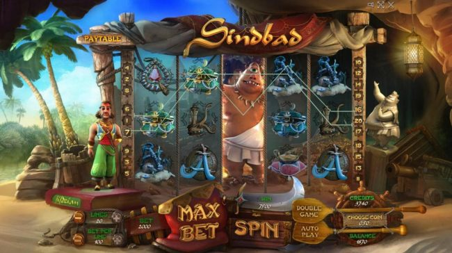 Sindbad :: A 7500 credit jackpot triggered by a pair of winning bet lines
