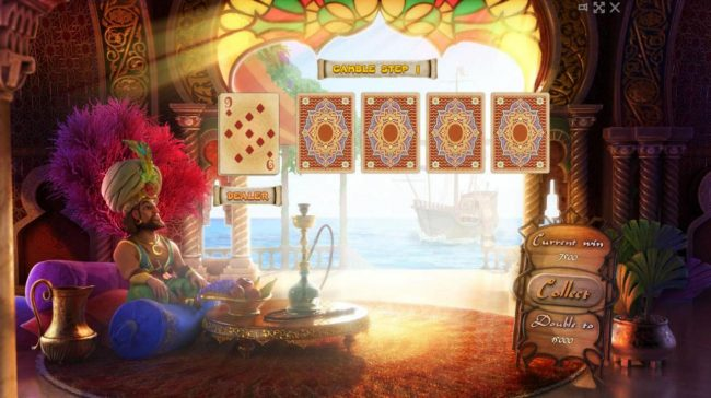 Sindbad :: Beat The Dealer - Double or Nothing Gamble Feature Game Board - Select a card that is higher than the dealers for a chance to double your winnings.