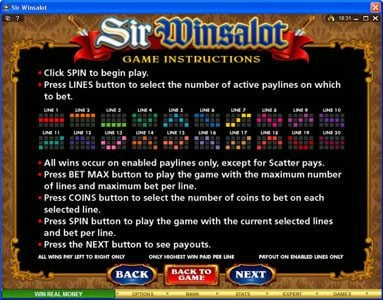 Crazy vegas featuring the Video Slots Sir Winsalot with a maximum payout of $7,500