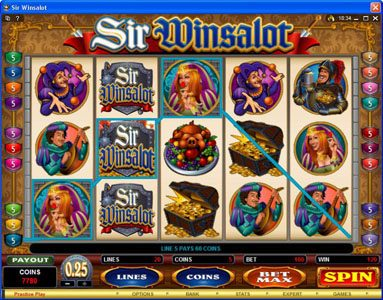 Go Wild featuring the Video Slots Sir Winsalot with a maximum payout of $7,500