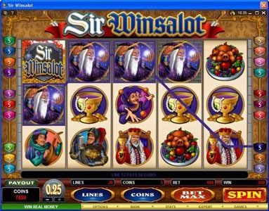 Yukon Gold featuring the Video Slots Sir Winsalot with a maximum payout of $7,500