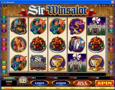 Jackpot Knights featuring the Video Slots Sir Winsalot with a maximum payout of $7,500