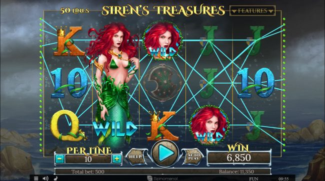 Play slots at betmaster: betmaster featuring the Video Slots Siren's Treasure with a maximum payout of $100,000