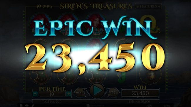Superior featuring the Video Slots Siren's Treasure with a maximum payout of $100,000