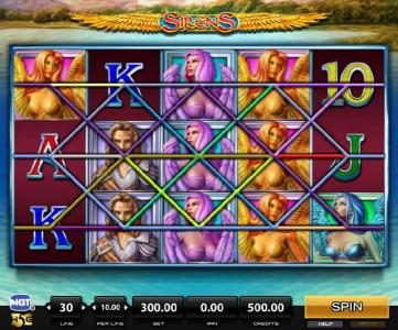 Sirens :: Main game board featuring five reels and 30 paylines with a $300,000 max payout