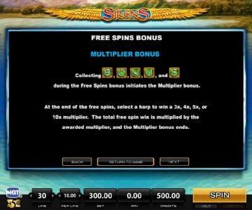 Sirens :: Free SPins Bonus Multiplier Rules