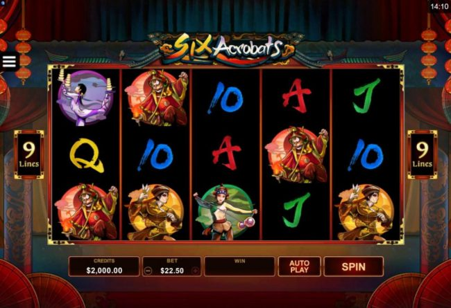 Play slots at JVSpin: JV Spin featuring the Video Slots Six Acrobats with a maximum payout of $97,500