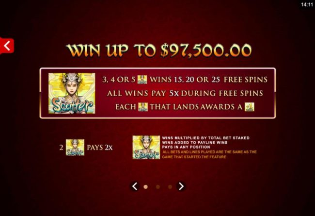 Oshi featuring the Video Slots Six Acrobats with a maximum payout of $97,500