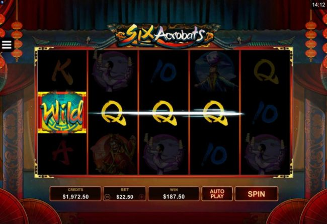 King Neptunes featuring the Video Slots Six Acrobats with a maximum payout of $97,500