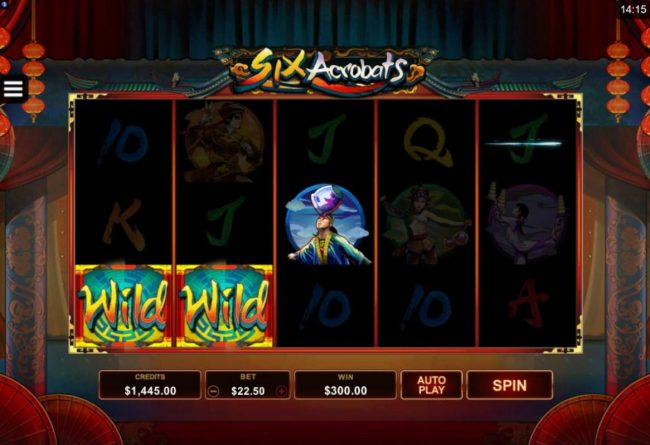 Golden Tiger featuring the Video Slots Six Acrobats with a maximum payout of $97,500