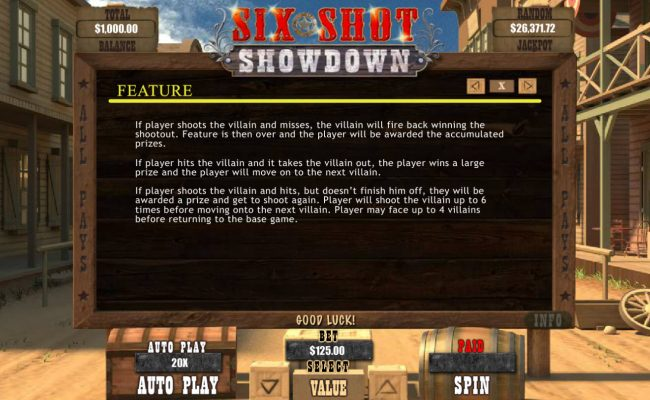 Grande Vegas featuring the Video Slots Six Shot Showdown with a maximum payout of $12,500